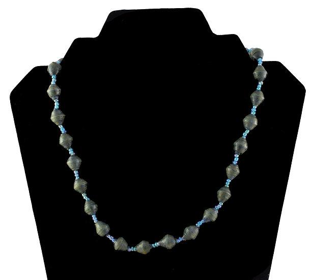 Short Paper Bead Necklace - Petrol