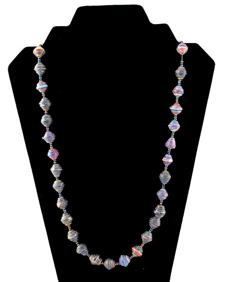 Medium Length Paper Bead Necklace - Pink, Blue & White