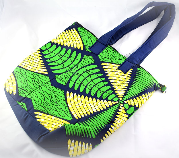 Lined Tote Bag - Green, Yellow & Navy