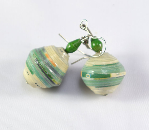 Large Paper Bead Earrings - Green