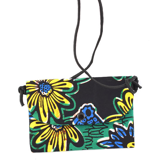 Purse with Detatchable Strap - Green, Black, Yellow & Blue