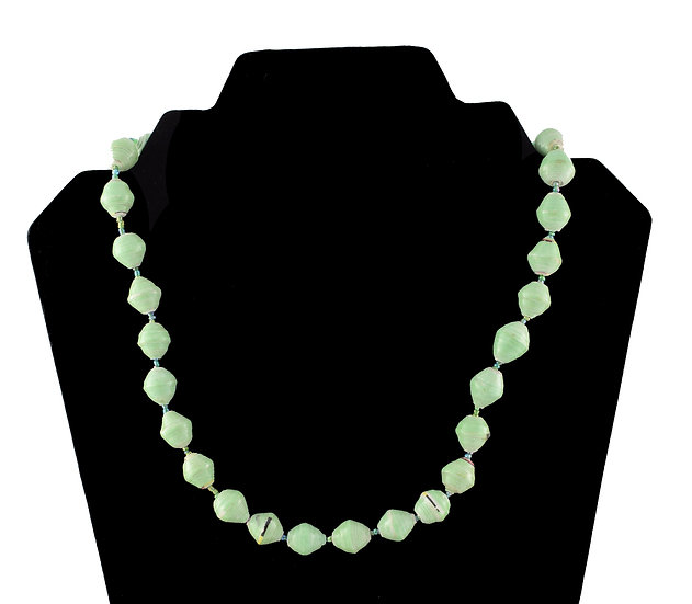 Short Paper Bead Necklace - Pale Green