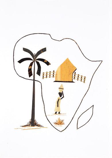 Handmade Greeting Card - Africa Map