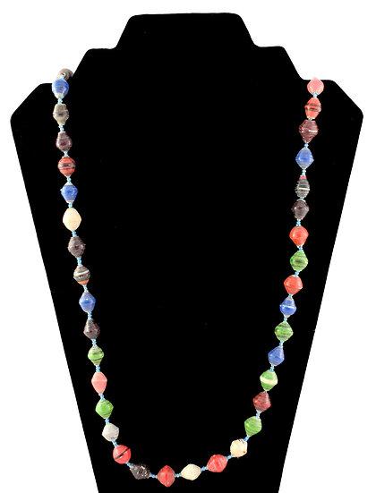 Medium Length Paper Bead Necklace - Multi-coloured