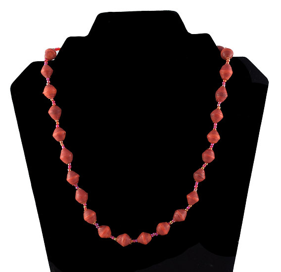 Short Paper Bead Necklace - Red