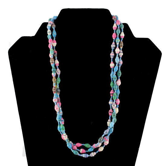 Multi-Stranded Paper Bead Necklace - Multi-Coloured