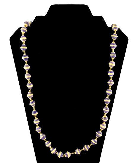 Medium Length Paper Bead Necklace - Purple & Cream