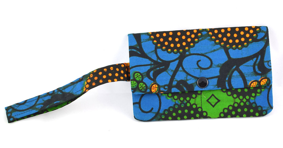 Push Fastener Purse - Blue, Orange, Black & Green