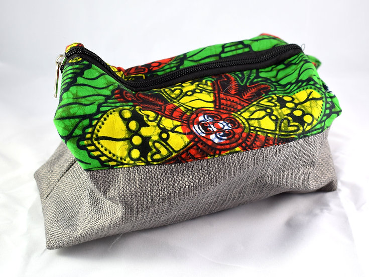 Toiletry / Wash Bag - Green, Yellow, Red & Brown