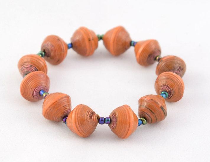 Paper Bead Bracelet - Peach