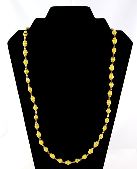 Medium Length Paper Bead Necklace - Mustard