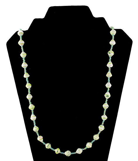 Medium Length Paper Bead Necklace - Pale Green & White