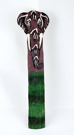 Leather painted bookmark - elephant