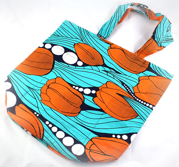 Lined Tote Bag - Blue, Orange, Navy & White