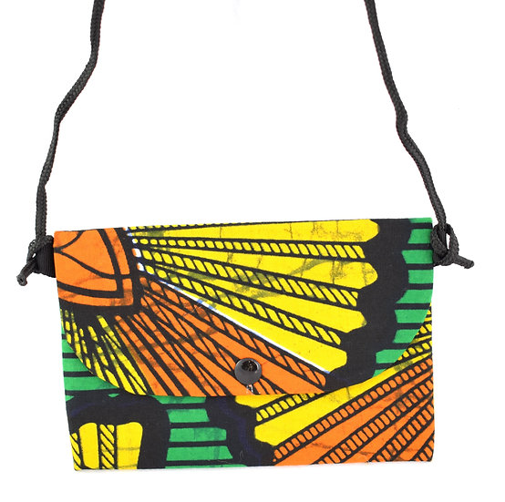 Purse with Detatchable Strap - Black, Yellow, Green & Orange
