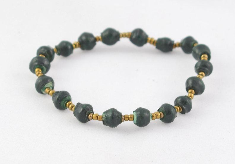 Paper Bead Bracelet - Green & Gold