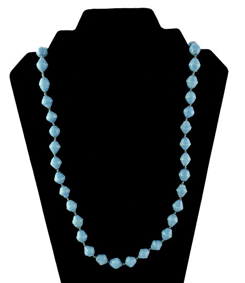 Medium Length Paper Bead Necklace - Baby Blue