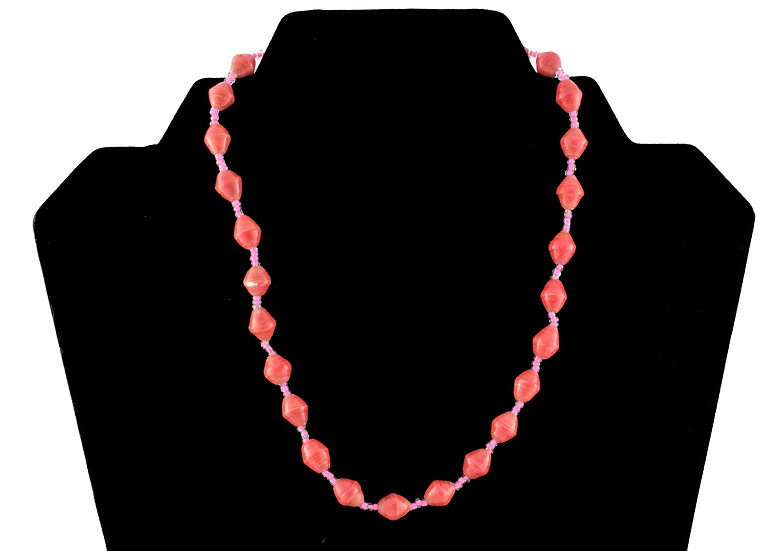 Short Paper Bead Necklace - Salmon