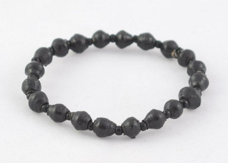 Paper Bead Bracelet - Black & Gold