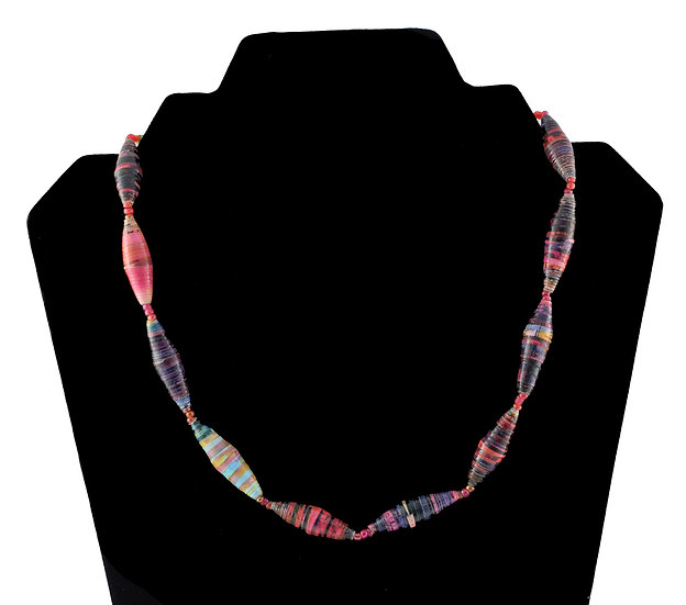 Short Paper Bead Necklace - Multi-coloured