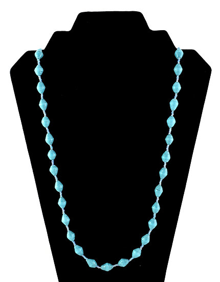 Medium Length Paper Bead Necklace - Pale Blue