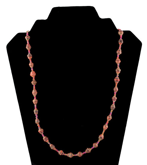 Short Paper Bead Necklace - Red & Brown
