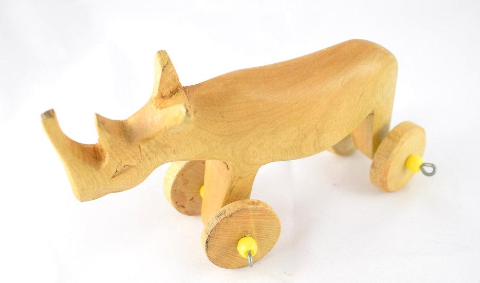 Wheeled wooden rhino toy