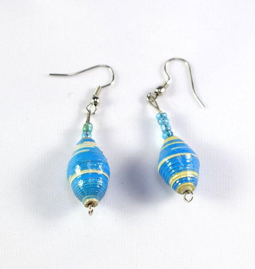 Paper Bead Earrings - Blue & White