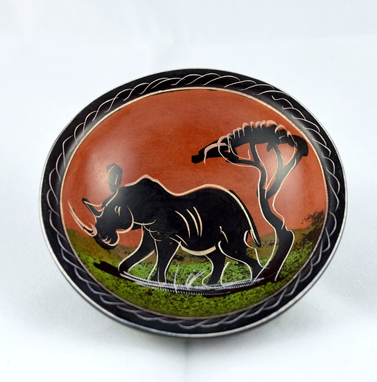 Handmade painted small stone bowl - style 3