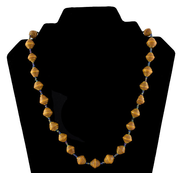 Short Paper Bead Necklace - Ocre