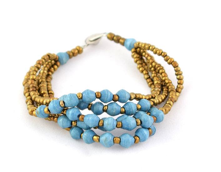 Paper Bead Bracelet - Blue & Gold