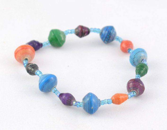 Paper Bead Bracelet - Multicoloured