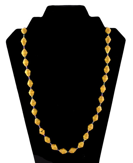 Medium Length Paper Bead Necklace - Dark Yellow