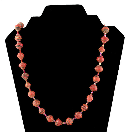 Short Paper Bead Necklace - Red & Black