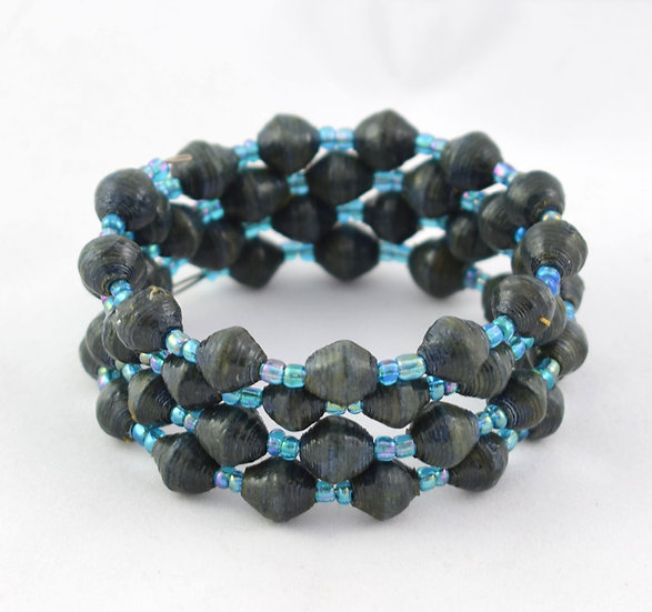 Twisted Wire Paper Bead Bracelet - Blue