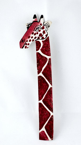 Leather painted bookmark - giraffe