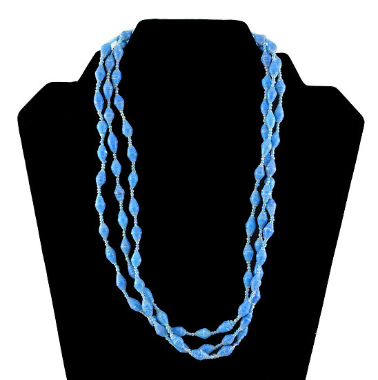 Multi-Stranded Paper Bead Necklace - Blue