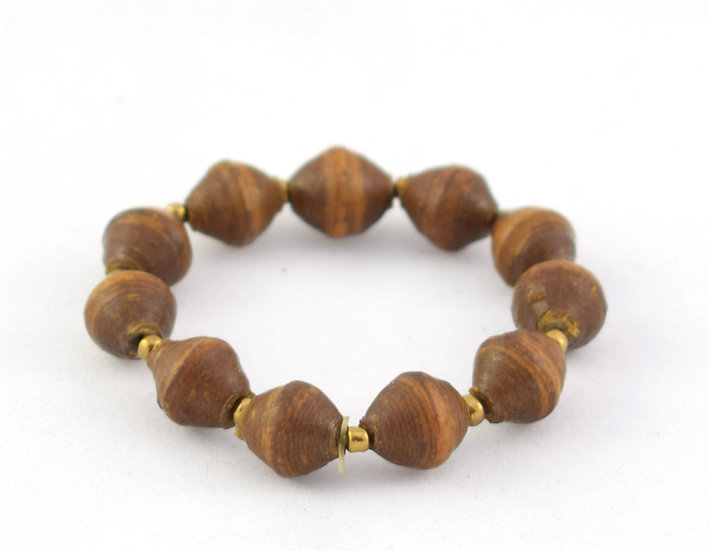 Child-size (small) paper bead bracelet - Brown