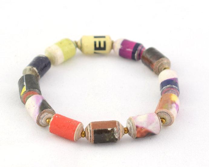 Square Paper Bead Bracelet - Multicoloured