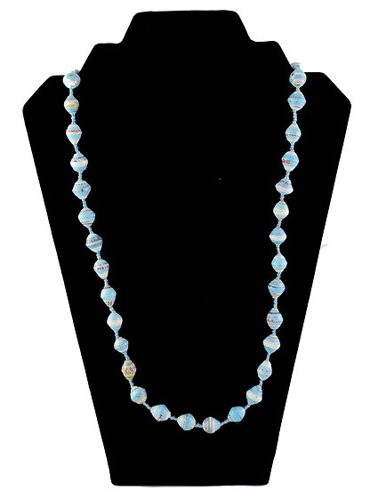Medium Length Paper Bead Necklace - Bright Blue & white