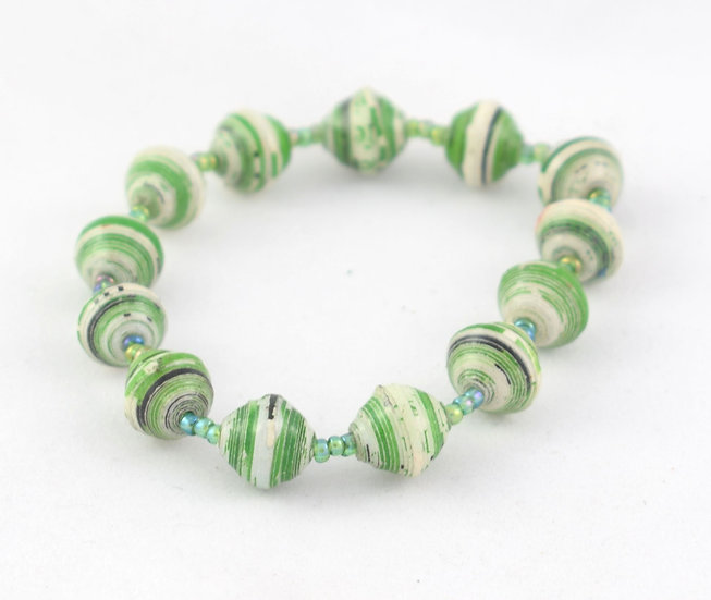 Paper Bead Bracelet - Green & Cream
