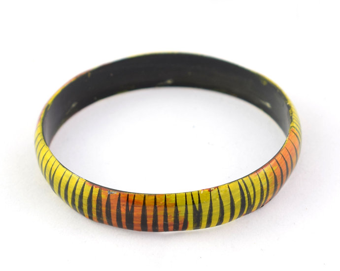 Wooden Bangle - Yellow & Orange