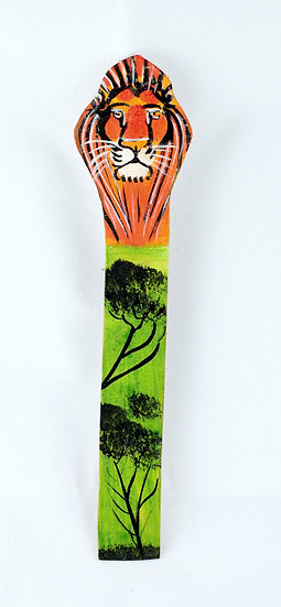 Leather painted bookmark - lion