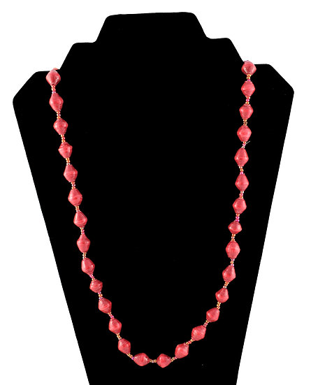 Medium Length Paper Bead Necklace - Red