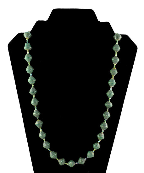 Medium Length Paper Bead Necklace - Forest Green