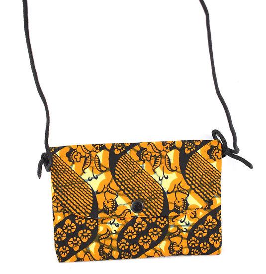 Purse with Detatchable Strap - Orange, Cream & Black