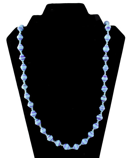 Medium Length Paper Bead Necklace - Purple & Blue