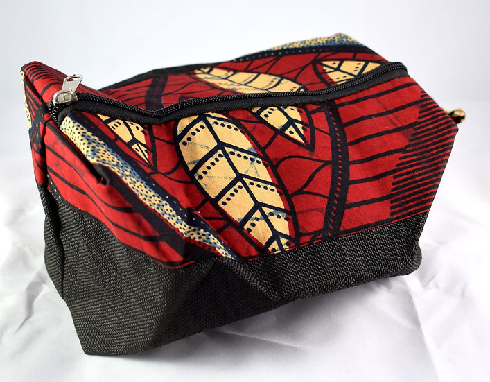 Toiletry / Wash Bag - Red, Peach & Black