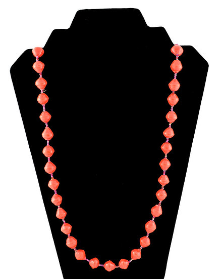 Medium Length Paper Bead Necklace - Bright Orange