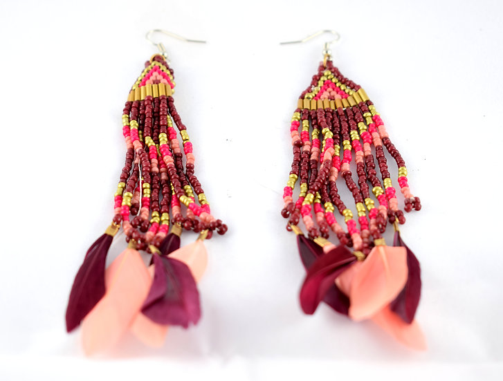 Handmade bead & feather earrings - style 1
